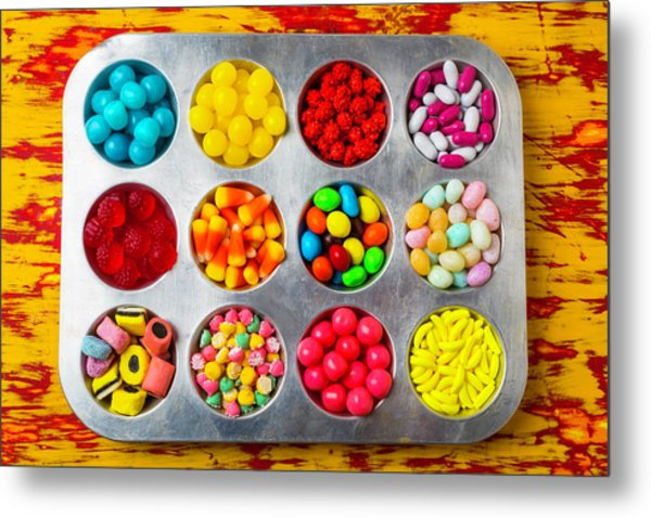 Cup Cake Tray Full Of Candy Metal Print