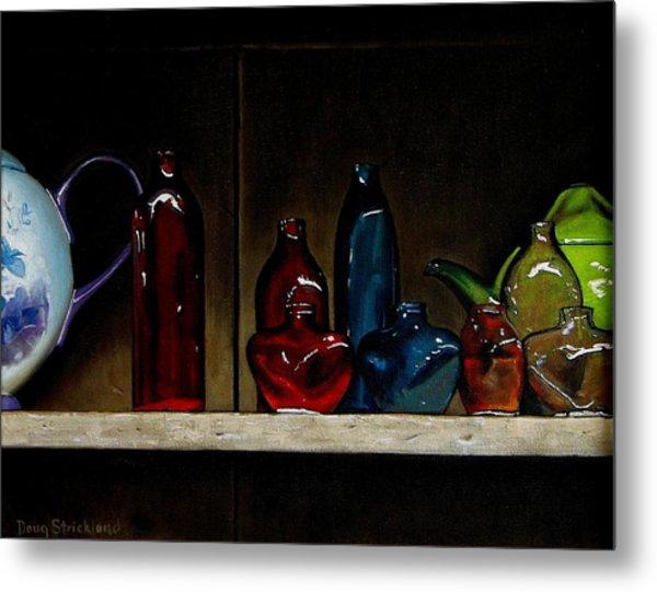 Cupboard Bottles Metal Print by Doug Strickland