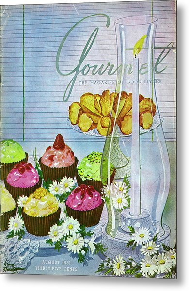Cupcakes And Gaufrettes Beside A Candle Metal Print