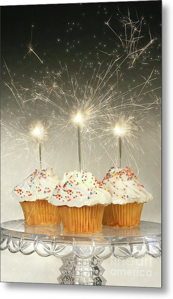 Cupcakes With Sparklers Metal Print