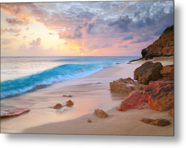 Cupecoy Beach Sunset Saint Maarten Metal Print