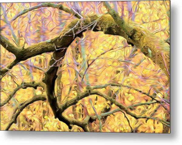 Curled Branch In Yellow Metal Print