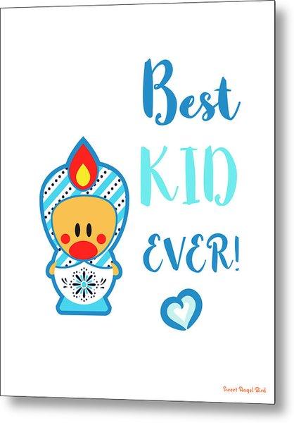 Cute Art - Blue And White Folk Art Sweet Angel Bird In A Nesting Doll Costume Best Kid Ever Art Print Metal Print