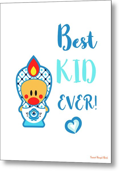Cute Art - Blue And White Folk Art Sweet Angel Bird In A Nesting Doll Costume Best Kid Ever Wall Art Print Metal Print
