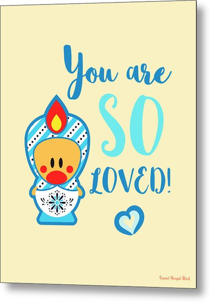 Cute Art - Blue, Beige And White Snowflake Folk Art Sweet Angel Bird Matryoshka You Are So Loved Wall Art Print Metal Print
