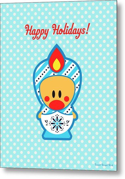 Cute Art - Blue Polka Dot Happy Holidays Folk Art Sweet Angel Bird In A Nesting Doll Costume Wall Art Print Metal Print