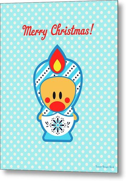Cute Art - Blue Polka Dot Merry Christmas Folk Art Sweet Angel Bird In A Nesting Doll Costume Wall Art Print Metal Print