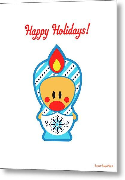 Cute Art - Happy Holidays Folk Art Sweet Angel Bird In A Nesting Doll Costume Wall Art Print Metal Print