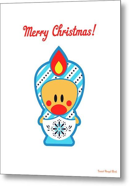 Cute Art - Merry Christmas Folk Art Sweet Angel Bird In A Nesting Doll Costume Wall Art Print Metal Print