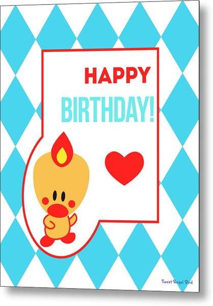 Cute Art - Sweet Angel Bird Blue Happy Birthday Circus Diamond Pattern Wall Art Print Metal Print