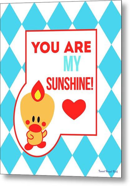 Cute Art - Sweet Angel Bird Blue You Are My Sunshine Circus Diamond Pattern Wall Art Print Metal Print