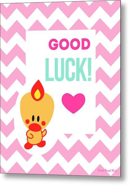 Cute Art - Sweet Angel Bird Cotton Candy Pink Good Luck Chevron Wall Art Print Metal Print