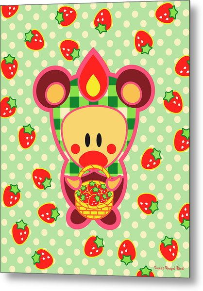 Cute Art - Sweet Angel Bird In A Bear Costume Holding A Basket Of Strawberries Wall Art Print Metal Print