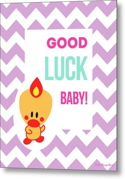 Cute Art - Sweet Angel Bird Lilac Good Luck Baby Chevron Wall Art Print Metal Print