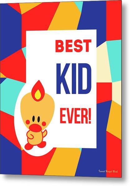 Cute Art - Sweet Angel Bird Multicolor Colorblock Best Kid Ever Wall Art Print Metal Print