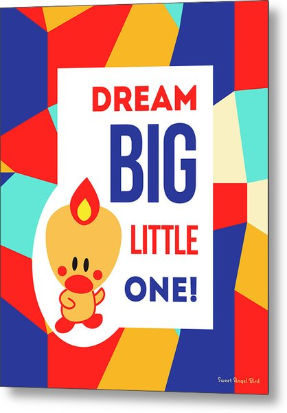 Cute Art - Sweet Angel Bird Multicolor Colorblock Dream Big Little One Wall Art Print Metal Print