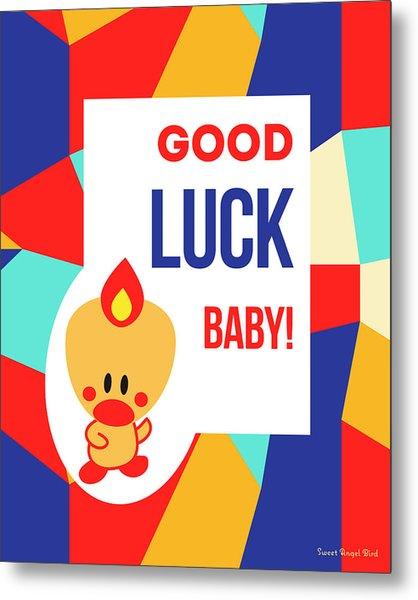Cute Art - Sweet Angel Bird Multicolor Colorblock Good Luck Baby Wall Art Print Metal Print
