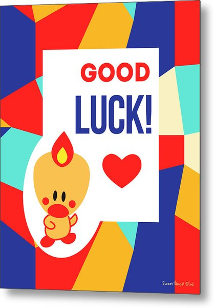 Cute Art - Sweet Angel Bird Multicolor Colorblock Good Luck Wall Art Print Metal Print