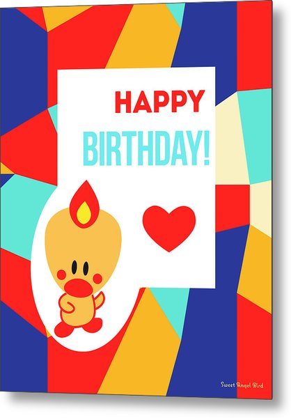 Cute Art - Sweet Angel Bird Multicolor Colorblock Happy Birthday Wall Art Print Metal Print