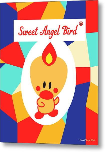 Cute Art - Sweet Angel Bird Multicolor Colorblock Logo Wall Art Print Metal Print