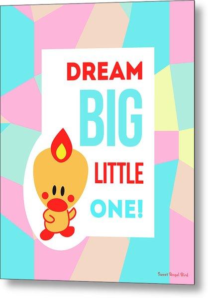 Cute Art - Sweet Angel Bird Pastel Colorblock Dream Big Little One Wall Art Print Metal Print