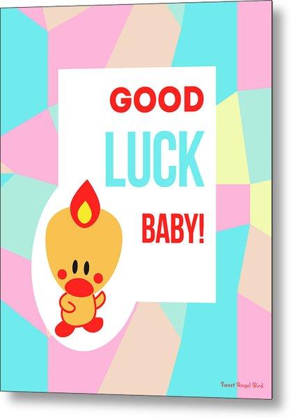 Cute Art - Sweet Angel Bird Pastel Colorblock Good Luck Baby Wall Art Print Metal Print