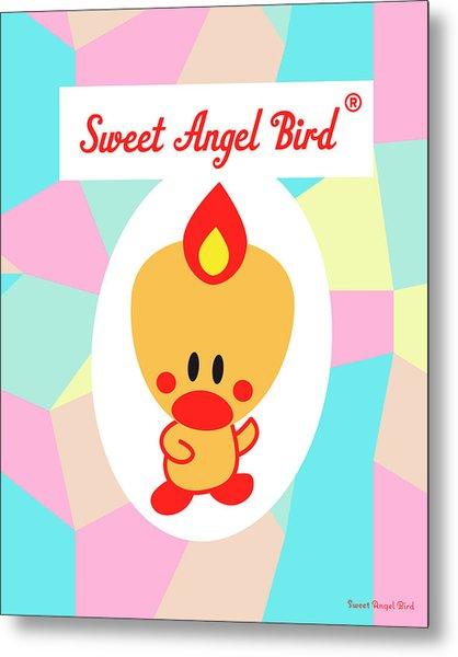 Cute Art - Sweet Angel Bird Pastel Colorblock Logo Wall Art Print Metal Print