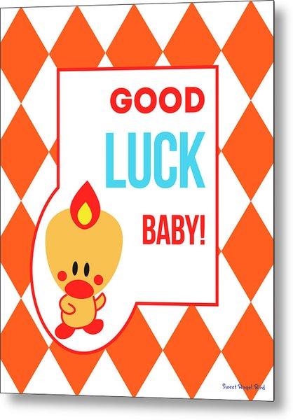 Cute Art - Sweet Angel Bird Terra Cotta Good Luck Baby Circus Diamond Pattern Wall Art Print Metal Print