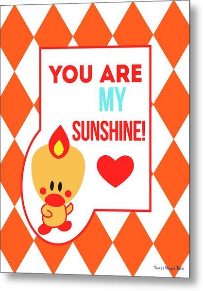 Cute Art - Sweet Angel Bird Terra Cotta You Are My Sunshine Circus Diamond Pattern Wall Art Print Metal Print