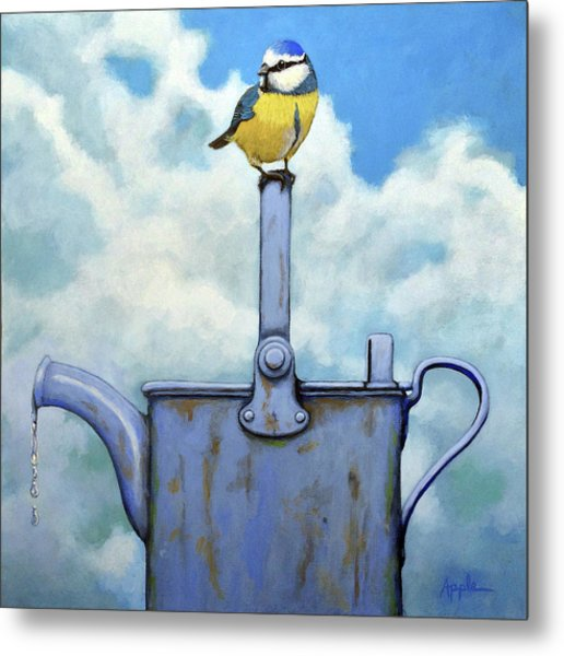 Cute Blue-tit Realistic Bird Portrait On Antique Watering Can Metal Print
