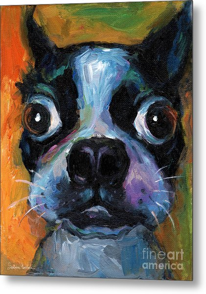 Cute Boston Terrier Puppy Art Metal Print