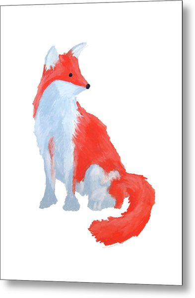 Cute Fox With Fluffy Tail Metal Print