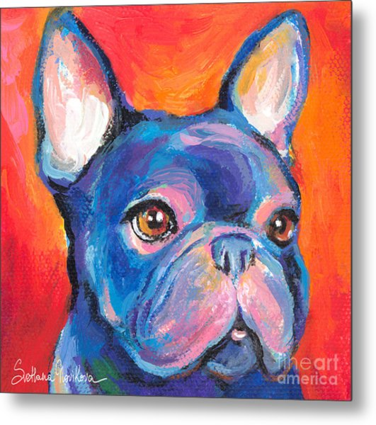 Cute French Bulldog Painting Prints Metal Print