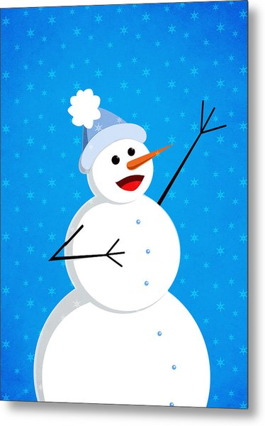 Cute Happy Snowman Metal Print