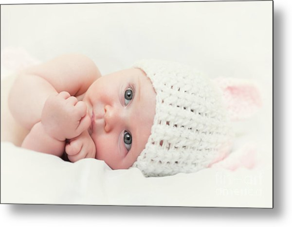 Cute Newborn Portrait Metal Print by Gualtiero Boffi