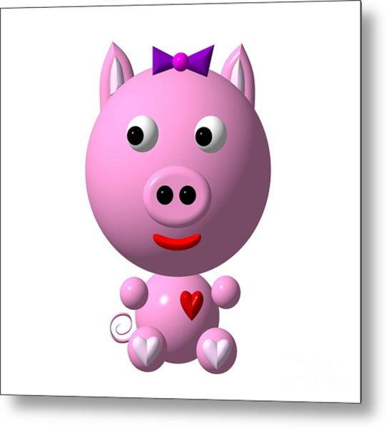 Metal Print featuring the digital art Cute Pink Pig With Purple Bow by Rose Santuci-Sofranko