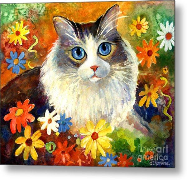 Cute Ragdoll Tubby Cat In Flowers Metal Print