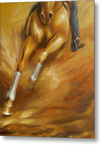 Cutting Horse Closeup 1 Metal Print