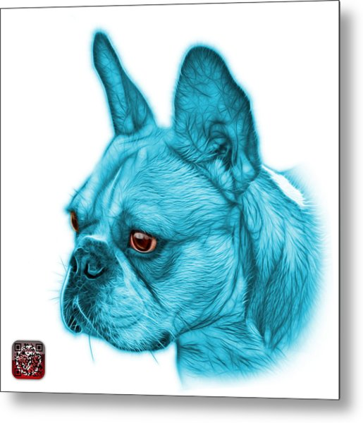 Cyan French Bulldog Pop Art - 0755 Wb Metal Print