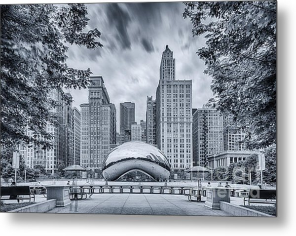 Cyanotype Anish Kapoor Cloud Gate The Bean At Millenium Park - Chicago Illinois Metal Print
