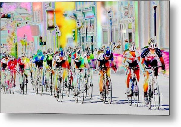 Cycling Down Main Street Usa Metal Print