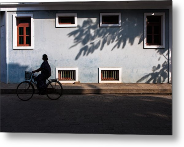 Cycling Silhouette Metal Print