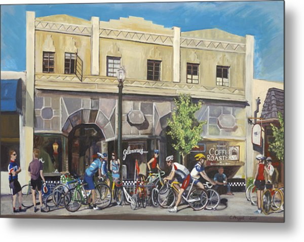 Cyclists At The Roasters Metal Print by Colleen Proppe