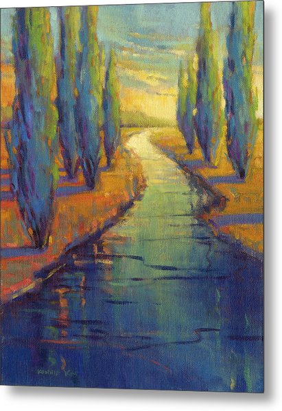 Metal Print featuring the painting Cypress Reflection by Konnie Kim