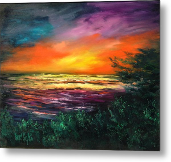 Cypress Sunset Metal Print by Sally Seago