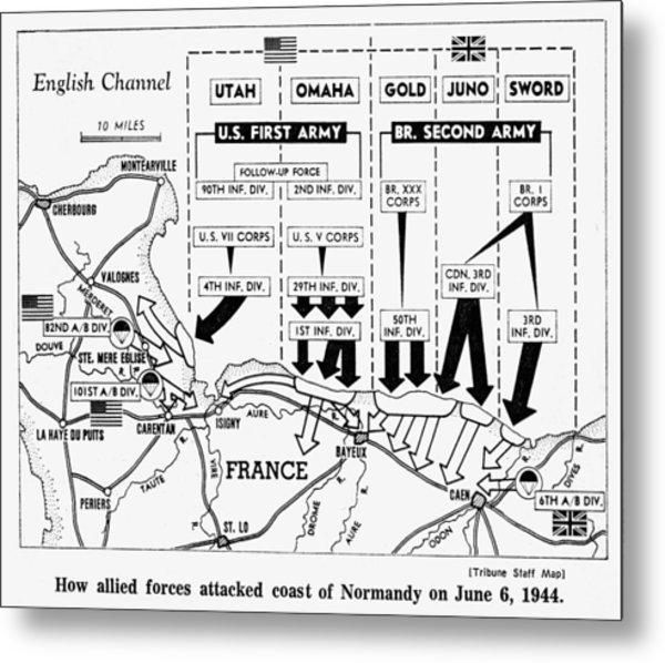 D-day, Map Detailing Allies Invasion Metal Print