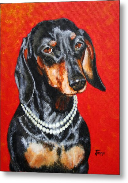 Dachshund In Pearls Metal Print