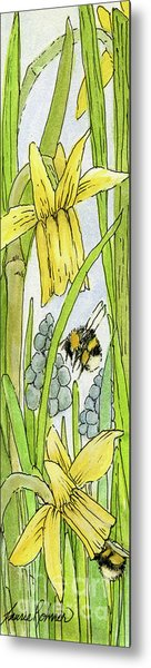 Daffodils And Bees Metal Print
