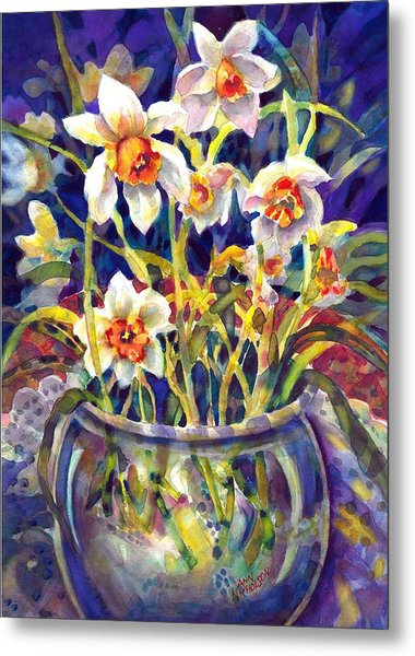 Daffodils And Lace Metal Print