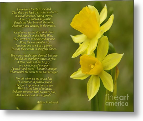 Daffodils Poem By William Wordsworth Metal Print
